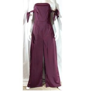 NWT Missguided Satin Bardot Tie Sleeve Jumpsuit
